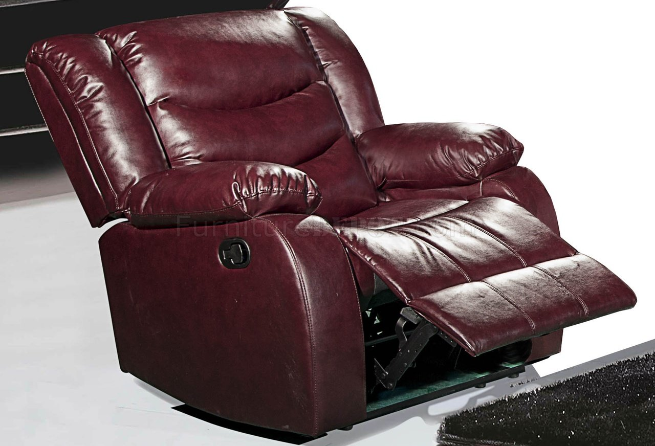 Gramercy 644 motion sectional sofa in burgundy bonded leather Burgundy leather loveseat