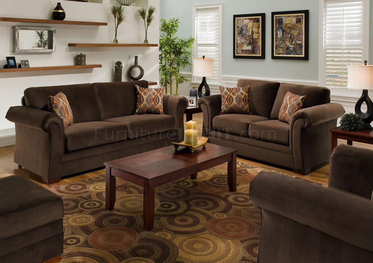 - Chocolate Fabric Modern Casual Living Room Sofa & Loveseat Set