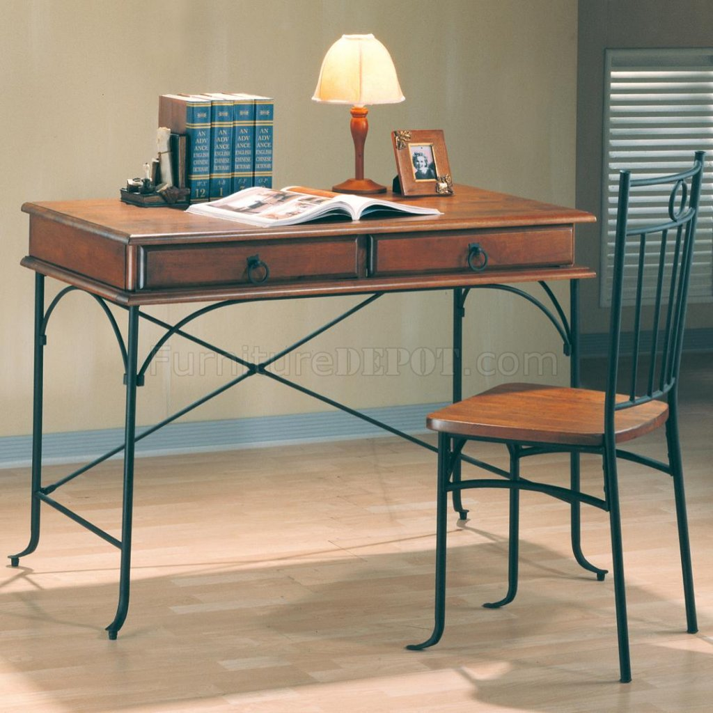 Warm Wood Dark Metal Two Tone Classic Home Office Desk W