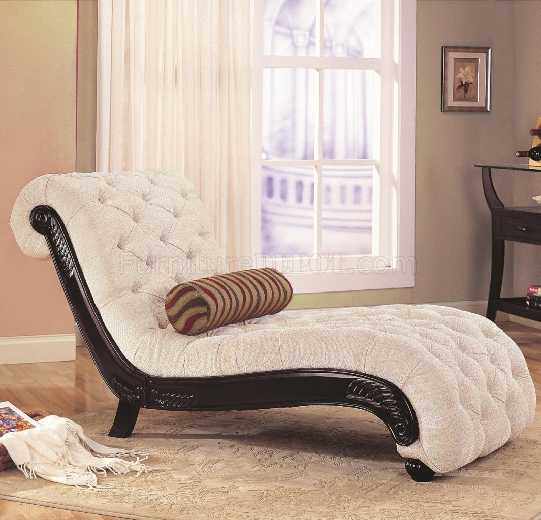 Beige Fabric Traditional Chaise Lounge W Carved Wood Trim