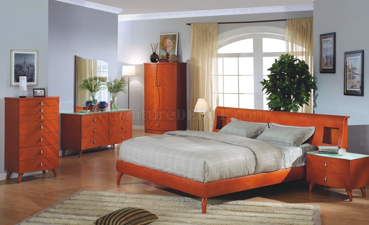 cherry bedroom set.  Cherry Finish Contemporary Bedroom Set w Optional Case Goods