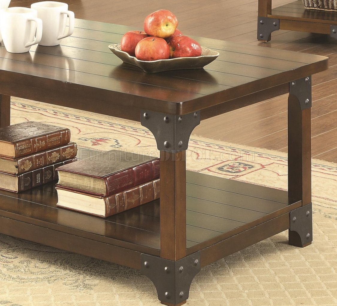 703587 3pc coffee table set in tobacco brown by coaster Coaster coffee tables