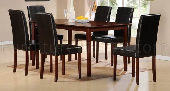 Cherry Finish Modern Dining Table W/Optional Bicast Chairs