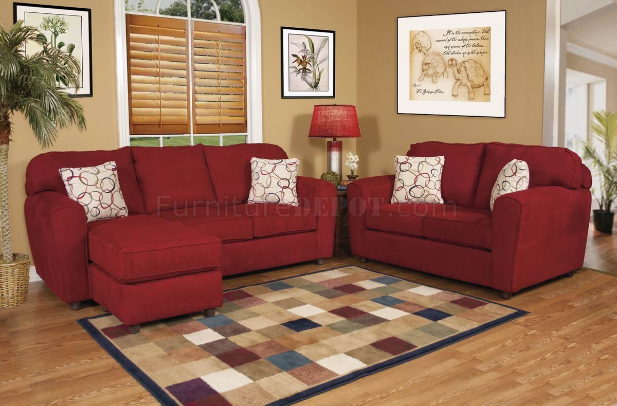 Red Fabric Modern Sofa & Loveseat Set w/Options