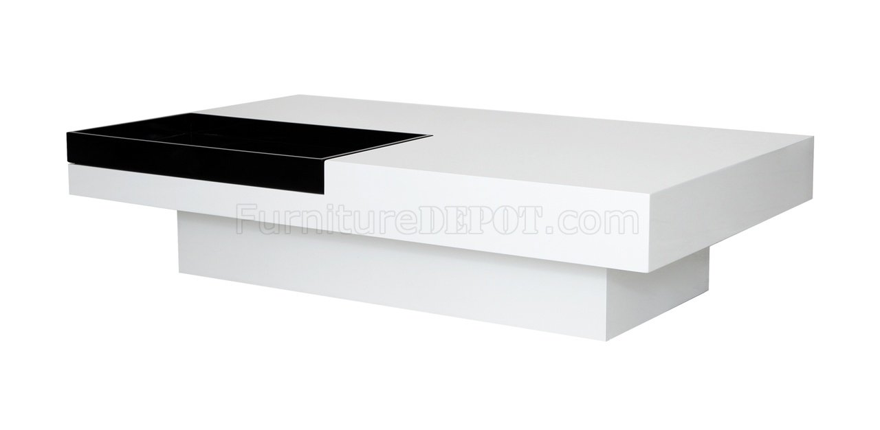 Tiffany Rectangular Coffee Table White Black By Whiteline