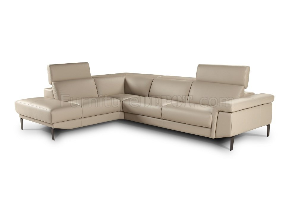 Sharon Sectional Sofa In Beige Premium Leather By J M