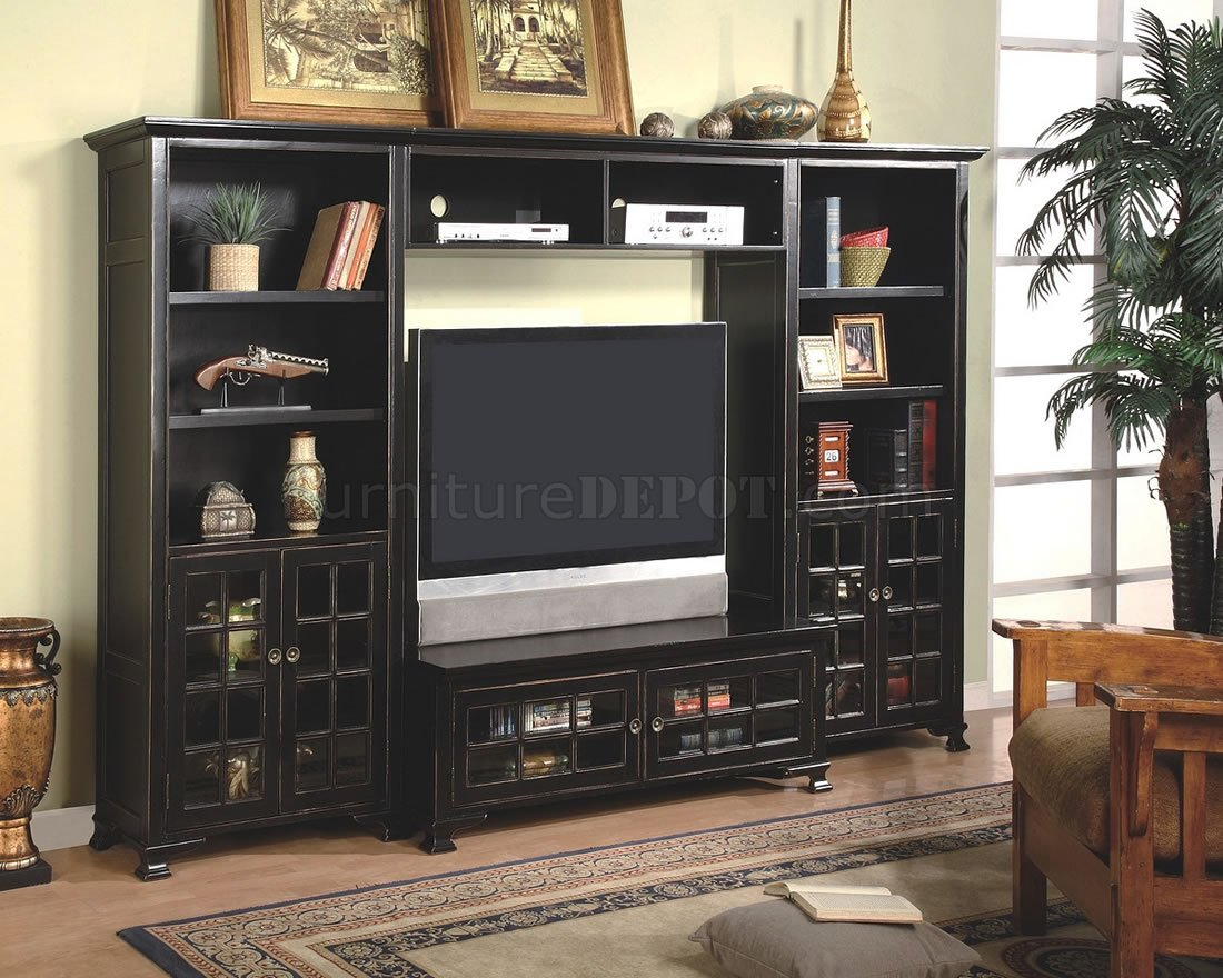 Black Wall Unit Entertainment Center