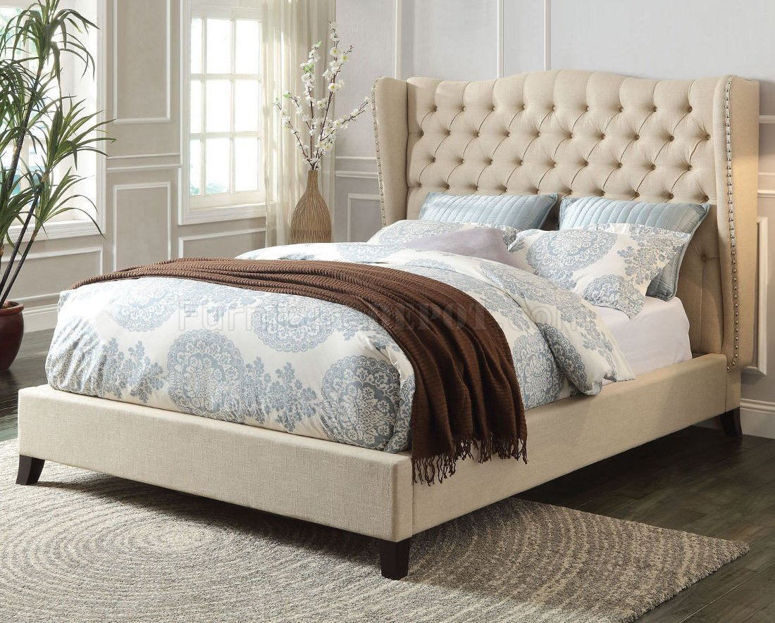 Faye 20650 Upholstered Bed In Beige Fabric By Acme