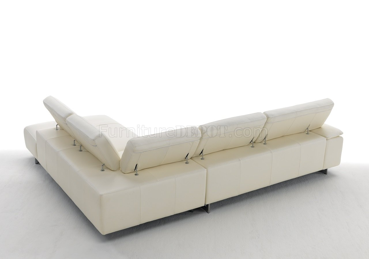 Ming 8009 sectional sofa in off white genuine italian leather for Genuine italian leather sectional sofa