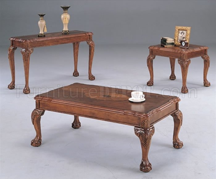 Deep brown traditional coffee table with shell design inlays Traditional coffee tables and end tables