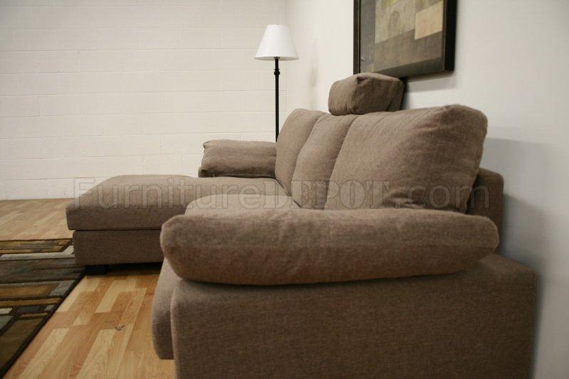 Tan Twill Fabric Modern Sectional Sofa W/Black Wooden Legs