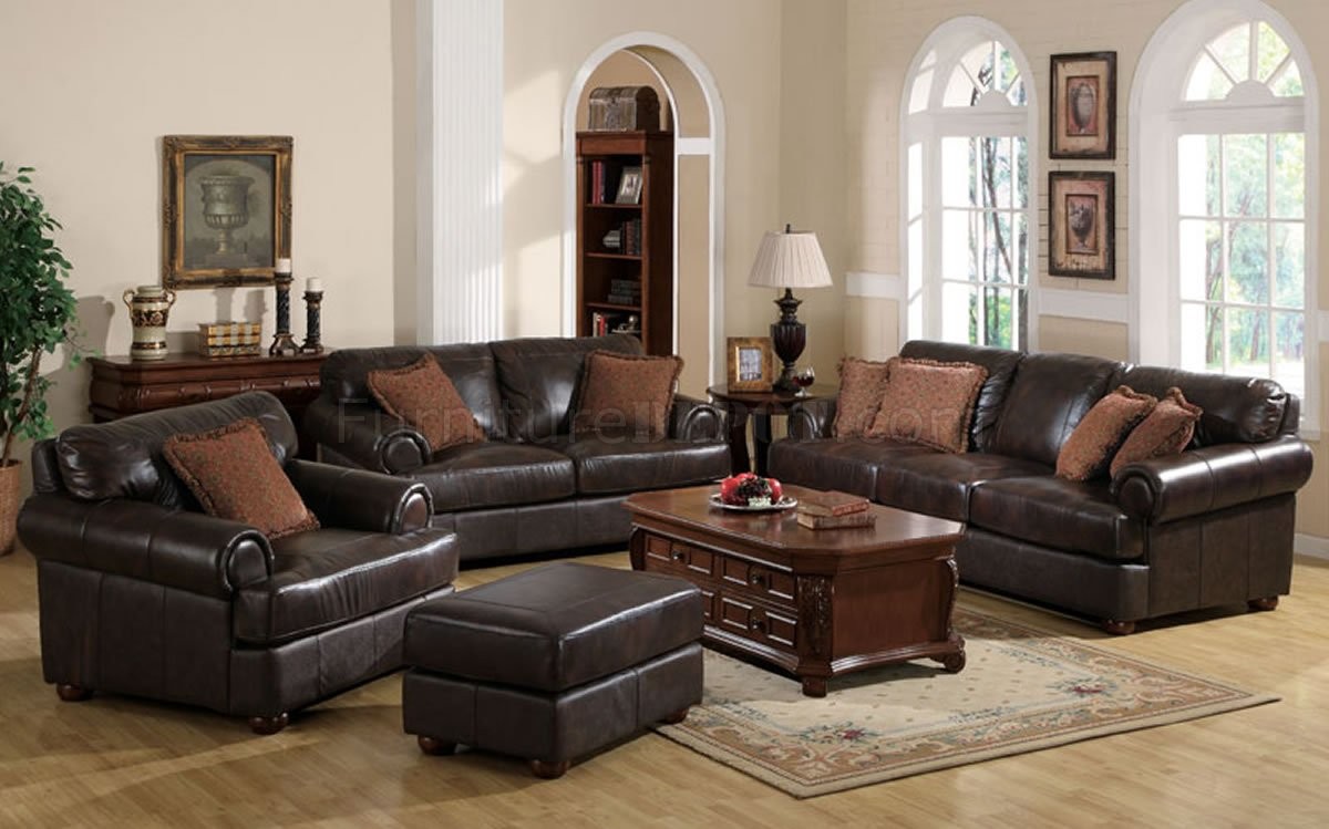 2 Pc Brown Full Leather Traditional Sofa & Loveseat Set