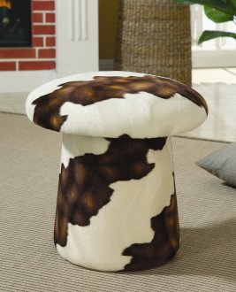 Cream Amp Brown Fabric Mushroom Shaped Modern Ottoman W Swivel