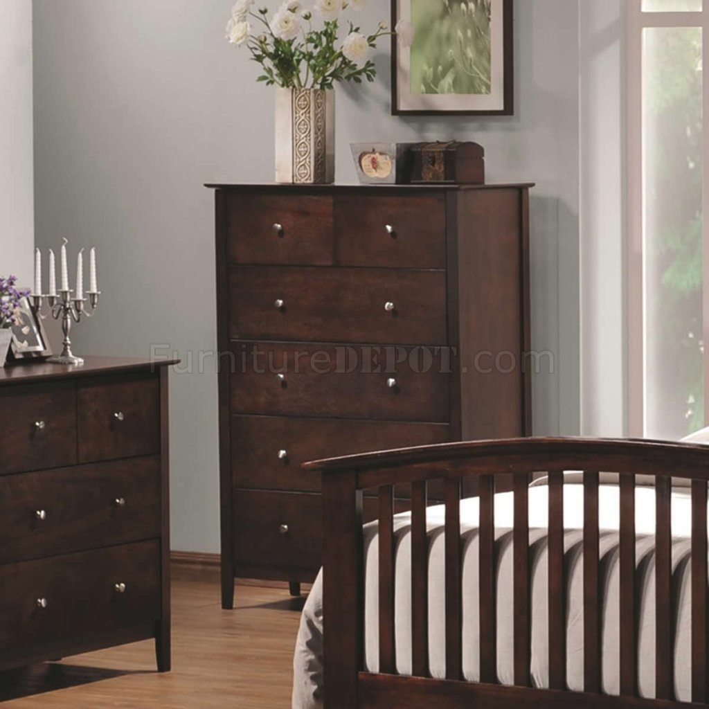 Tia 202081 Bedroom 5Pc Set In Cappuccino W/Options