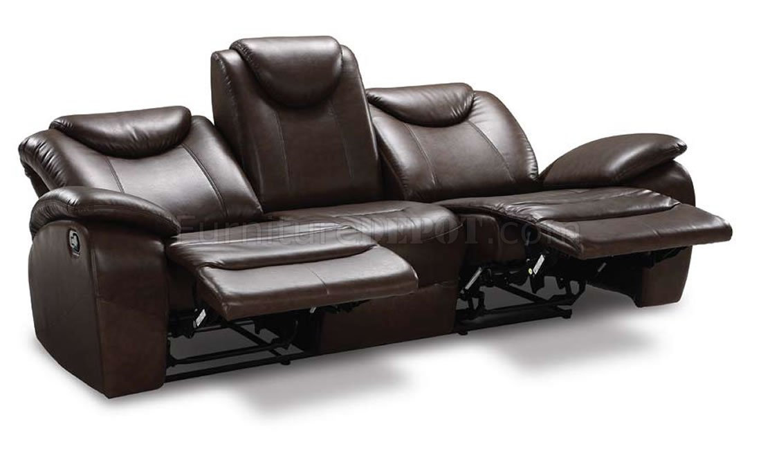 Dark Brown Contemporary Elegant Living Room W/Recliner Seats  sc 1 st  Furniture Depot & Brown Contemporary Elegant Living Room W/Recliner Seats islam-shia.org