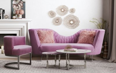 Eva Sofa Tov L6128 In Blush Velvet By Tov Furniture W Options