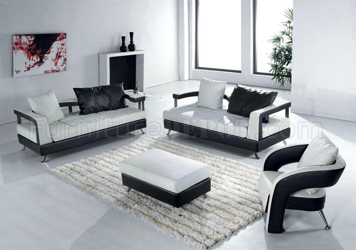 Black and white leather ultra modern 4pc living room set for Black and white living room set