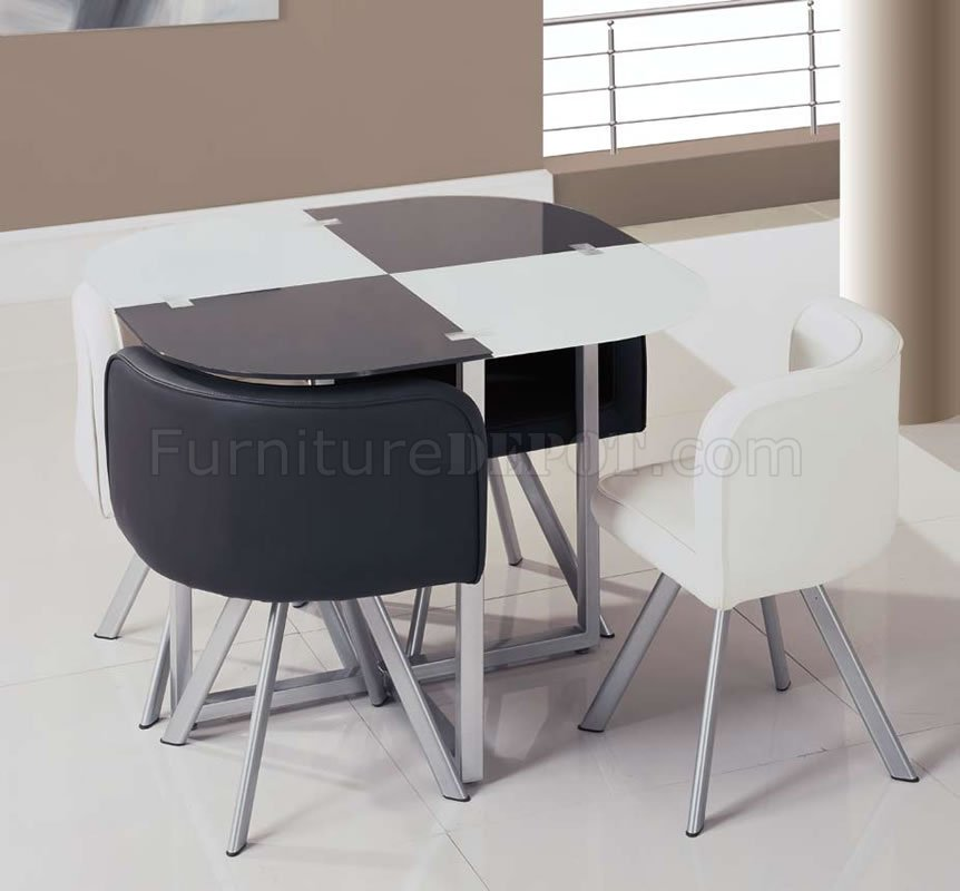 Two-Toned Black & White 5Pc Dinette Set W/Triangle Chairs