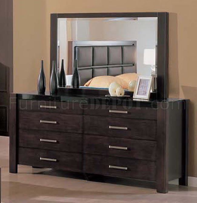 5 Piece Wenge Bedroom Set With Leather Upholstered Headboard Amazing Design