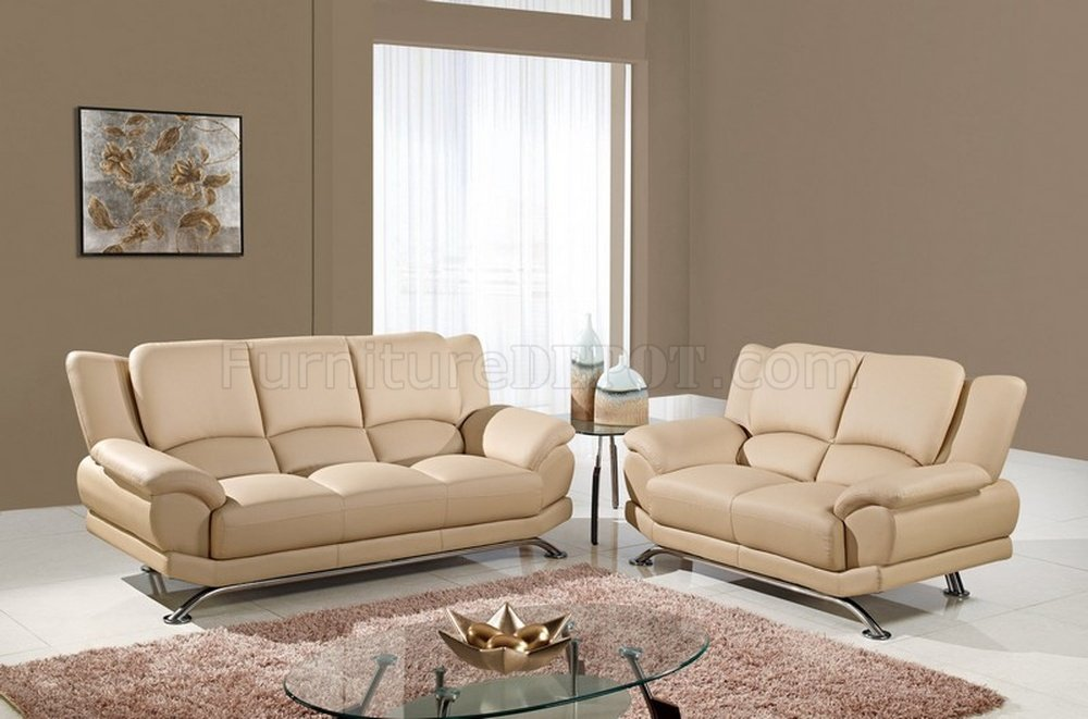 U9908 Sofa In Beige Bonded Leather By Global W Options