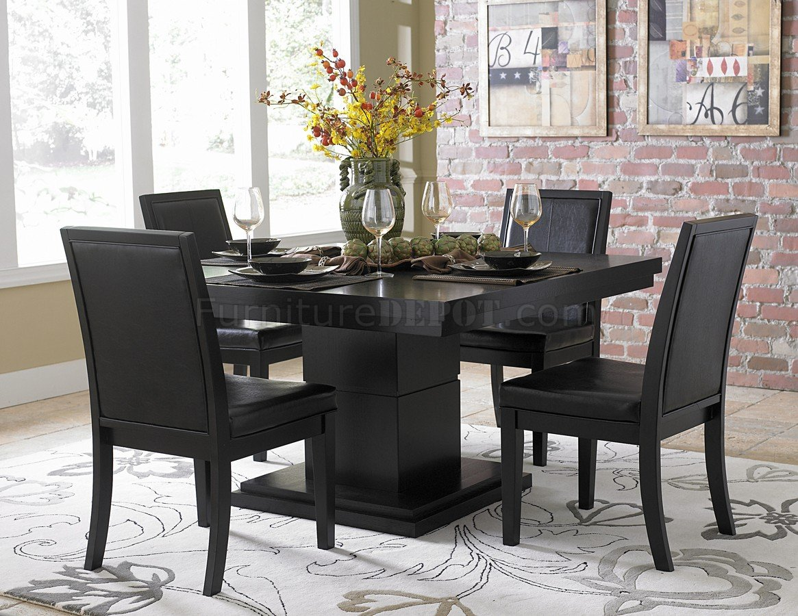 Black finish modern dining table w optional side chairs for Modern dining room table