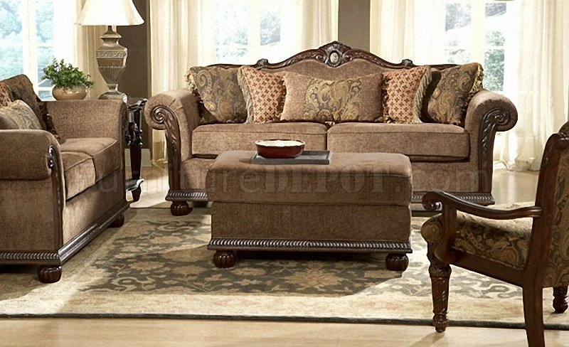 brown gold chenille classic living room sofa w marble details