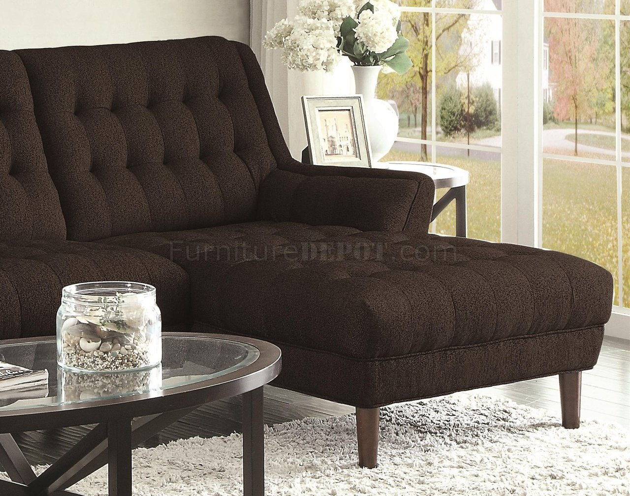Super Natalia Sectional Sofa 503778 In Black Fabric By Coaster Gmtry Best Dining Table And Chair Ideas Images Gmtryco