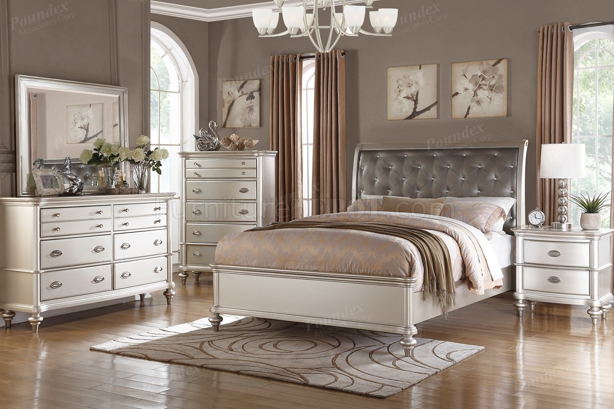 F9317 5 Pc Bedroom Set In Silver Tone By Boss W Options