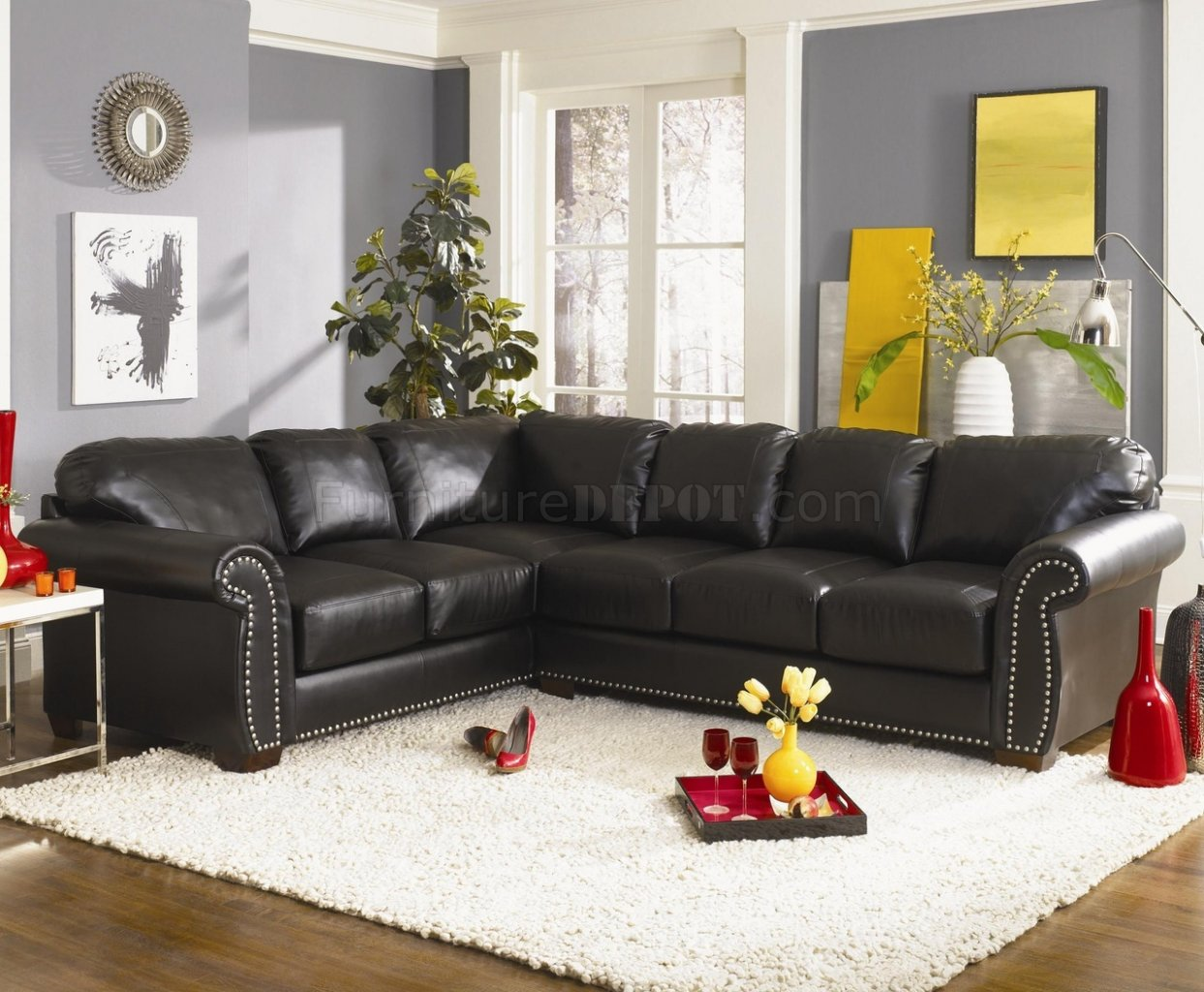 Burgundy or black bonded leather classic sectional sofa