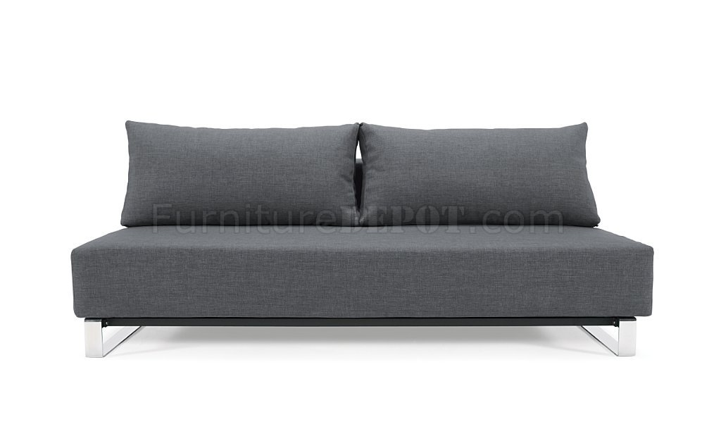 Charmant Dark Grey Fabric Modern Sofa Bed W/Stainless Steel Legs