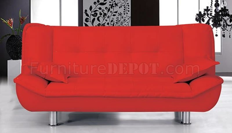 Remarkable Red Faux Leather Contemporary Sofa Bed Evergreenethics Interior Chair Design Evergreenethicsorg