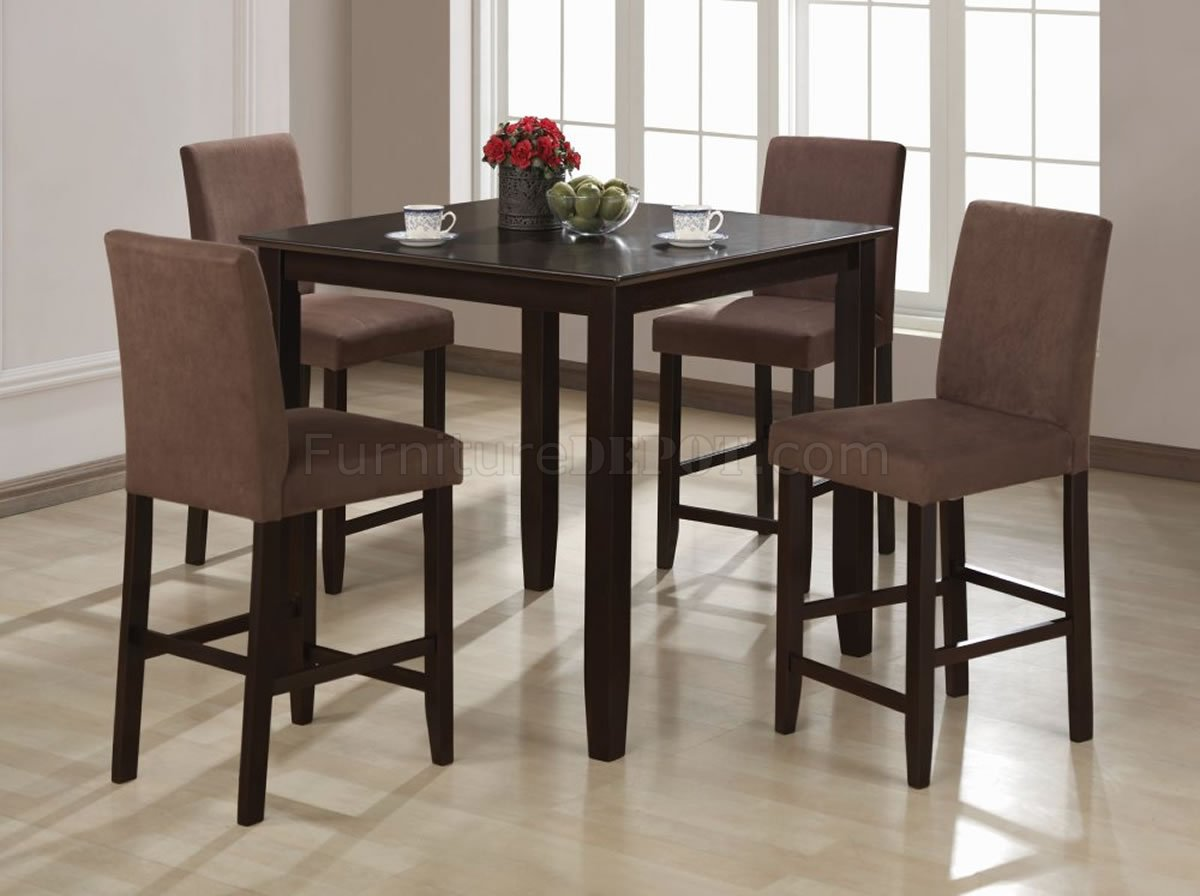 Cappuccino finish contemporary counter height 5 pc dinette set for Contemporary dining set
