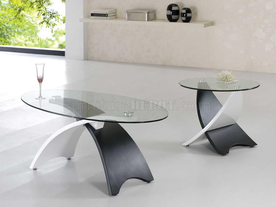 Two Tone Black White Contemporary Coffee Table W Glass Top