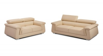 Leather Sofaloveseat on Beige Italian Leather Modern Sofa   Loveseat Set W Options At