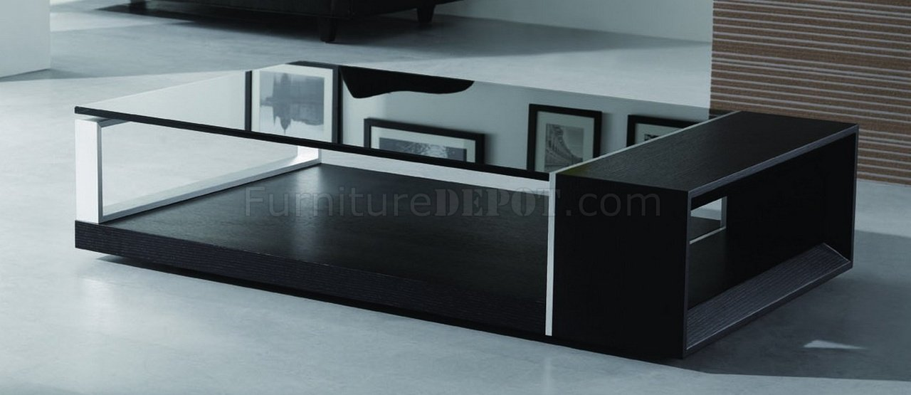 Charming Coffee Table Black Glass Top Part - 4: Treble Coffee Table - Beverly Hills - Espresso W/Black Glass Top