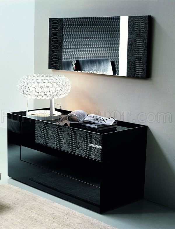 Black Finish Contemporary Dresser With Leather Details