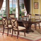 Brown Finish Modern 5Pc Dining Set w/Optional Arm Chairs