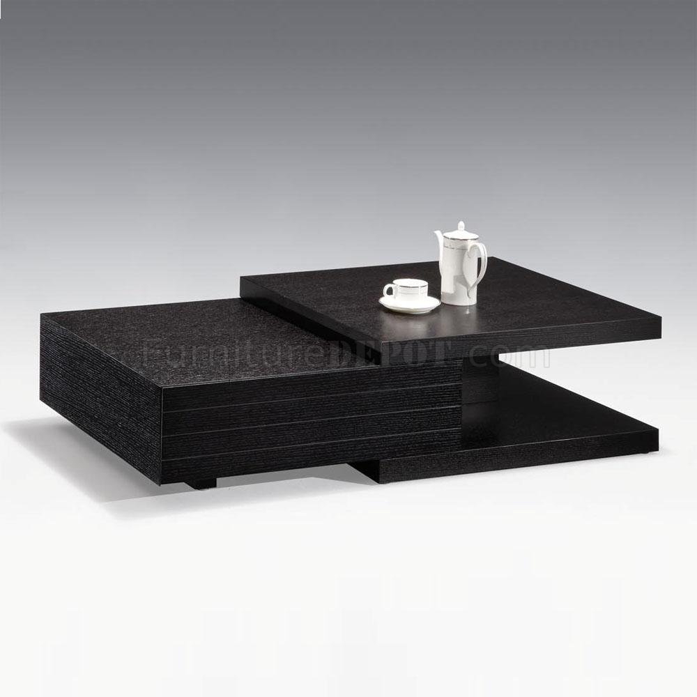 - Black Finish Modern Wood Coffee Table W/Drawers & Options