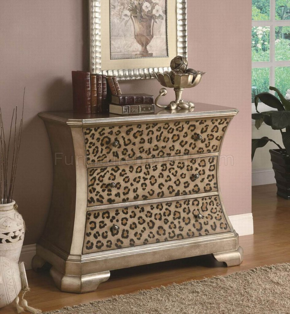 gold tone finish modern cabinet w leopard print accents With animal print furniture home decor