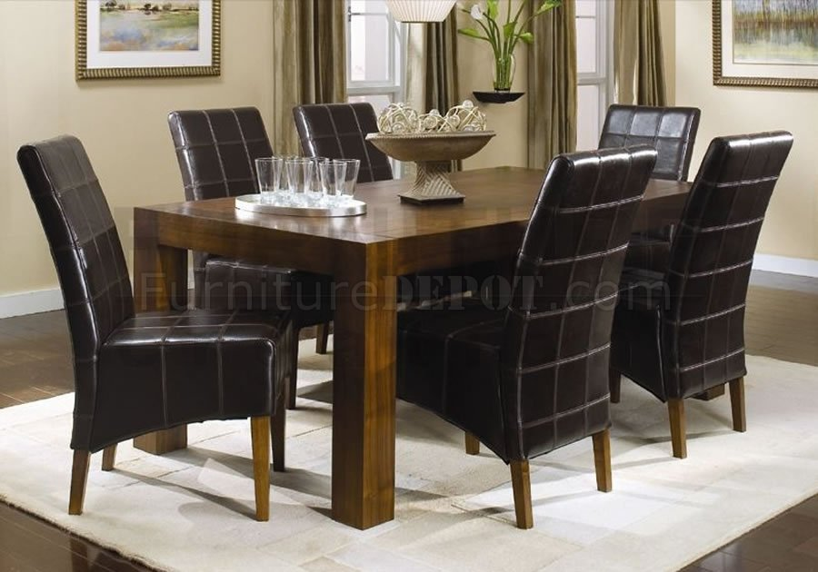 walnut finish modern dining room w full leather chairs