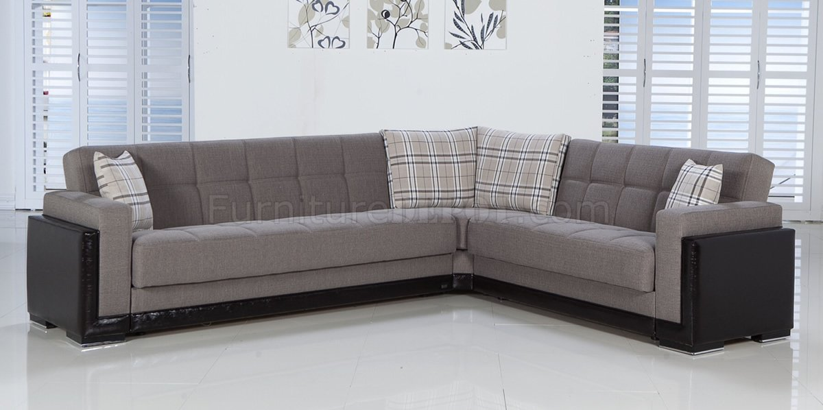 Fume fabric leatherette base sectional convertible sofa bed for Sectional sofa that converts to bed