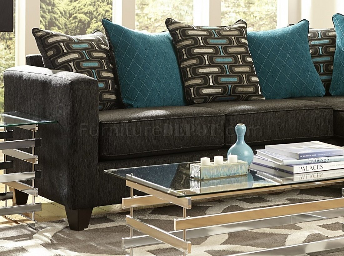 3002 Sectional Sofa In Charcoal Black Chenille Fabric
