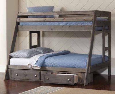 Wrangle Hill 400830 Bunk Bed In Gun Smoke By Coaster W Options