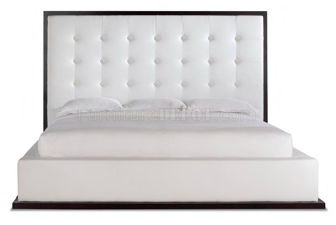 White Full Leather Ludlow Bedroom Set W/Oversized Headboard Bed