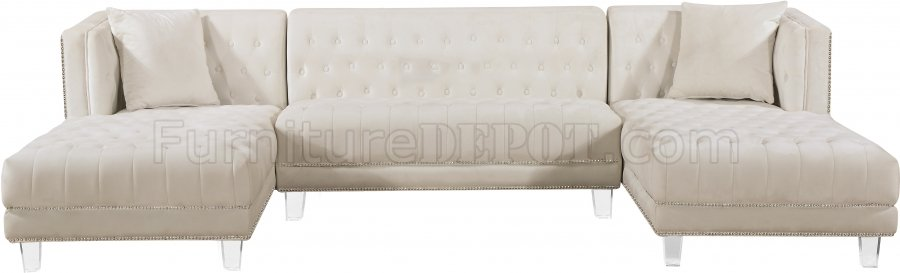 Moda Sectional Sofa 631 In Cream Velvet Fabric By Meridian