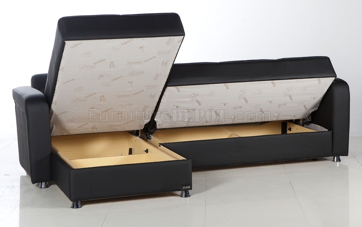 Leatherette Modern Sectional Convertible Sofa Bed