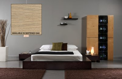 Modern  Platform on Whitened Oak Finish Modern Platform Bed At Furniture Depot