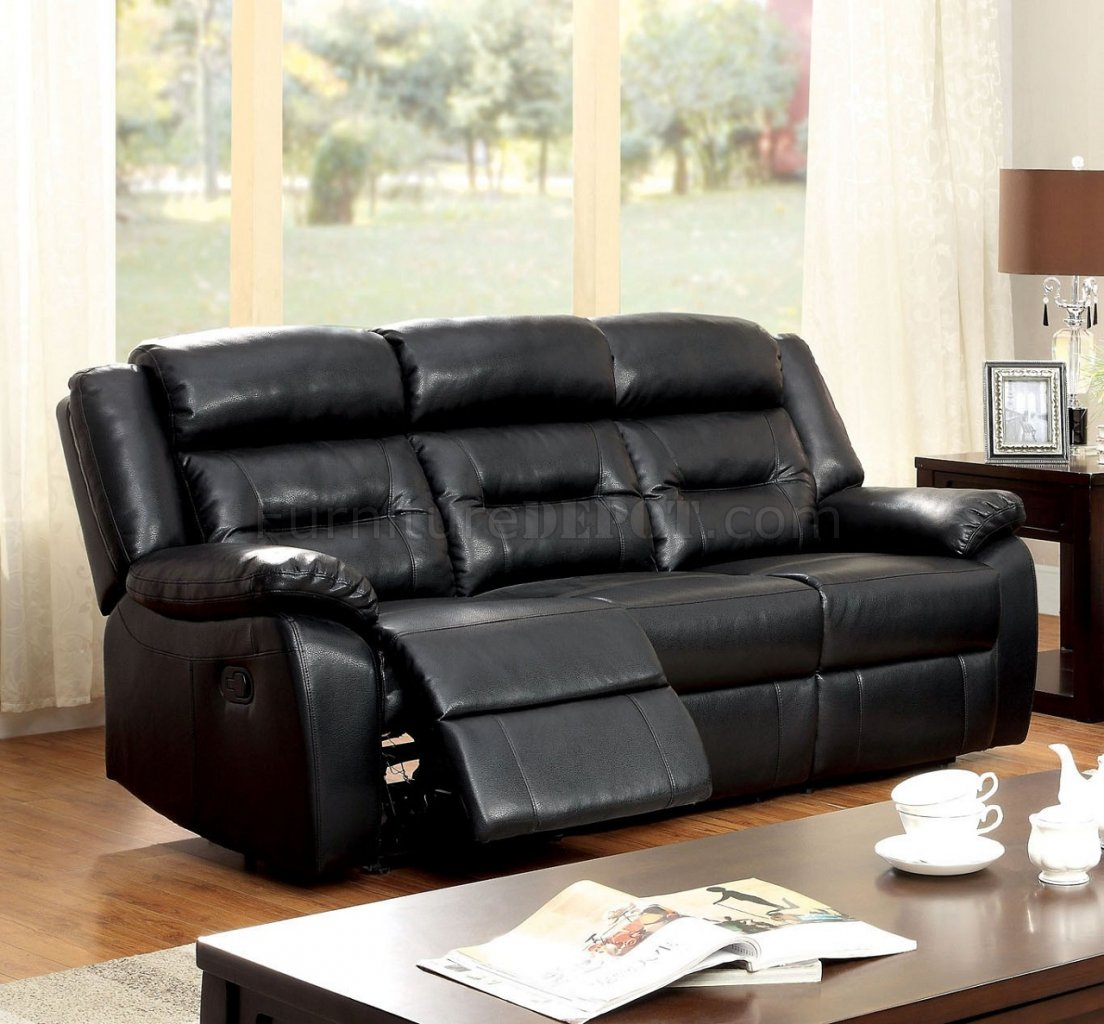 sheldon reclining sofa cm6320 in black leather match w options fas