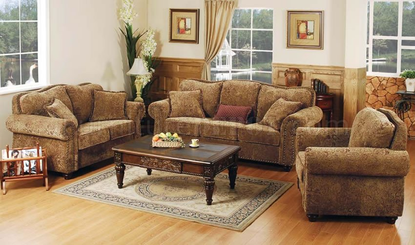 Printed microfiber living room set with studded accents for Family room sofa sets