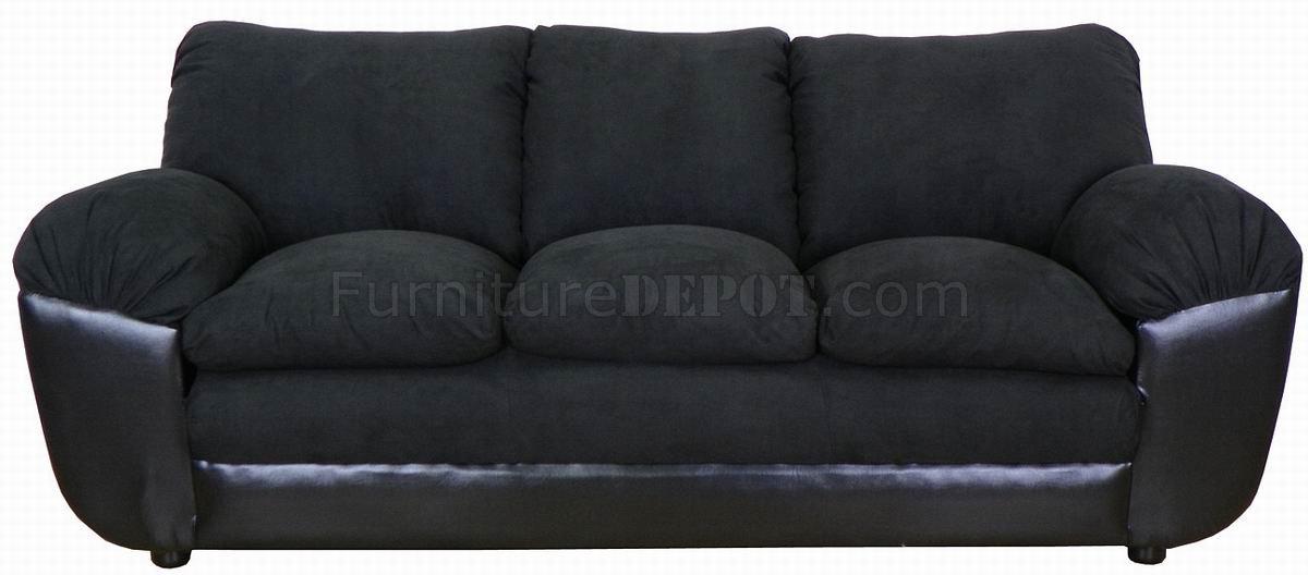 Black Fabric And Vinyl Modern Sofa Amp Loveseat Set W Options